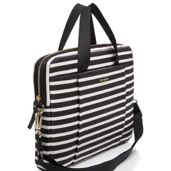 buy popular 9c343 9c42e Kate Spade- Black and White Striped Laptop Bag!❤️ NWT